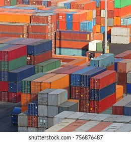 Cargo Containers Stacked at Terminal Port