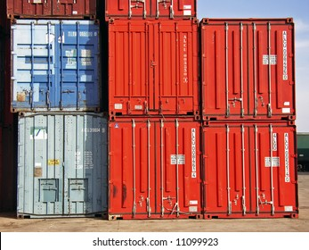 Cargo containers staked on the load dock