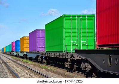 Cargo Containers Transportation On Freight Train By Railway. Intermodal Container On Train Car. Rail Freight Shipping Logistics Concept. Import - export goods from Сhina.