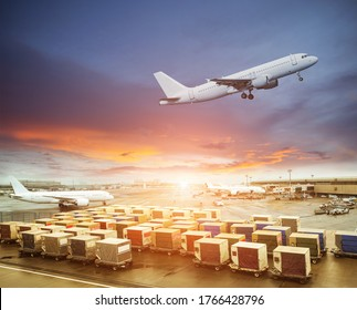 Cargo containers waiting load into an airliner
