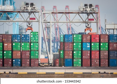 Cargo containers waiting for transport