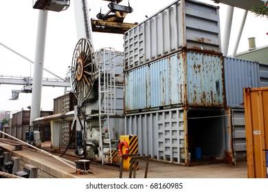 cargo cranes at harbor close up