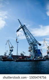 cargo cranes for unloading ships in the port