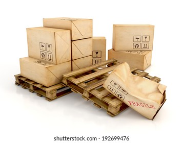 Cargo, delivery and transportation industry concept. Cardboard boxes on wooden pallets with one damaged package, isolated on white background. 3d illustration