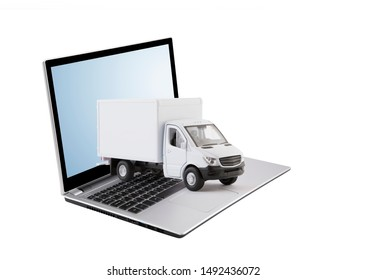 Cargo delivery truck on laptop isolated on white background