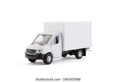 Cargo delivery truck on white background with clipping path