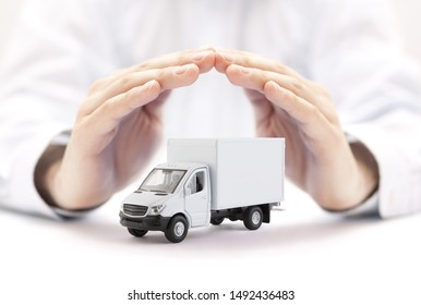 Cargo delivery truck protected by hands