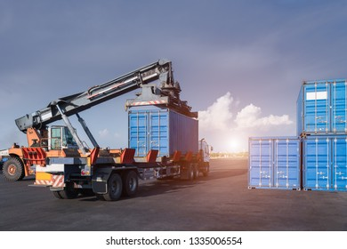 Cargo forklift handling container loading box export industrial