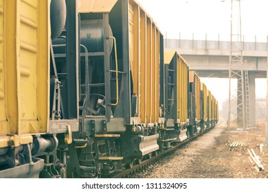 Cargo freight train wagons.Train composition