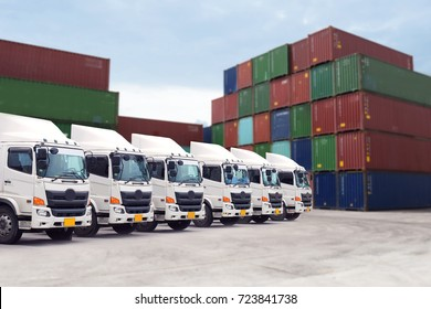 Cargo freight transportation with truck fleet in container depot service.
