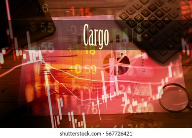 Cargo - Hand writing word to represent the meaning of financial word as concept. A word Cargo is a part of Investment&Wealth management in stock photo.