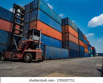 Cargo have forklift container full blue and red color copy space import export shipping logistics industry business commercial economic trade down effect corona virus disease crisis