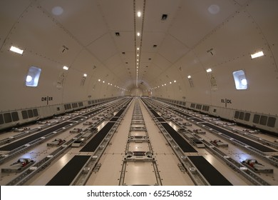cargo hold area of a modern-day commercial cargo aircraft