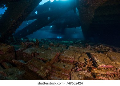 Cargo hold of Marcus shipwreck. Abu Nuhas reef, Northern Red Sea.