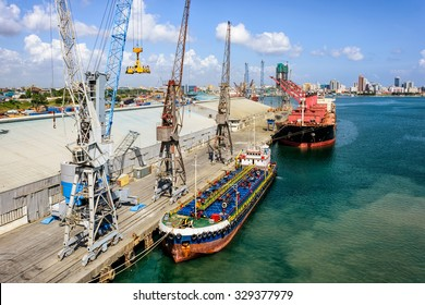 Cargo operations in the trading port in front of Dar es Salaam, Tanzania