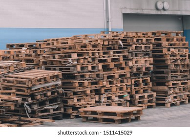 Cargo pallets. Unloading goods in a supermarket.