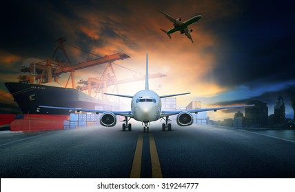 cargo plane and container ship for logistic and transport business