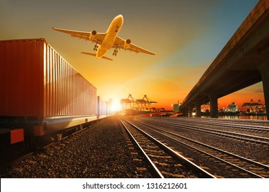 cargo plane flying over container trains and commercial shipyard background