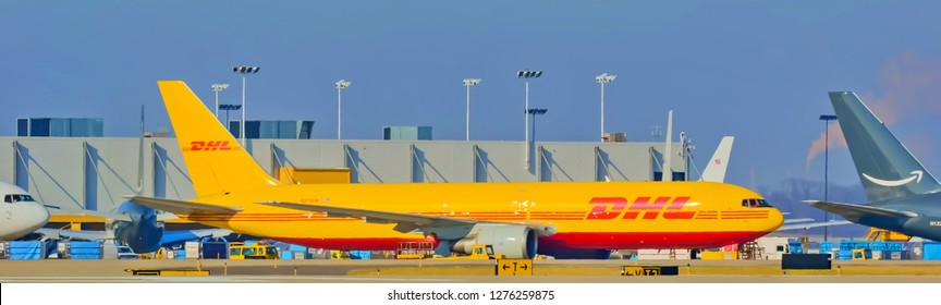 Cargo planes DHl and Amazon sitting  at the International Cincinnati Northern Kentucky airport Florence Kentucky USA January 5th 2019 Florence