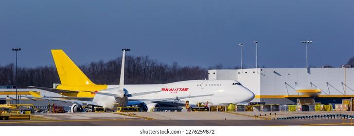 Cargo planes Kalitta 747 loading at the International Cincinnati Northern Kentucky airport Florence Kentucky USA January 5th 2019 Florence