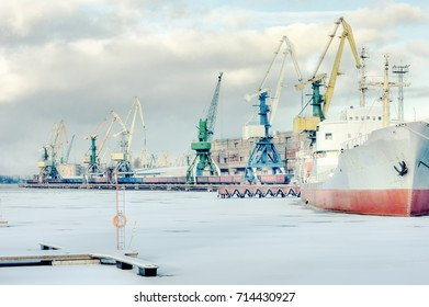 Cargo port on a frozen river