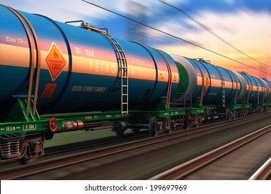 Cargo railway shipping industry and freight railroad transportation industrial concept: modern high speed train with petroleum tankcars on tracks with motion blur effect