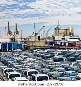 Cargo sea port. Sea cargo cranes. Cars. Seascape.