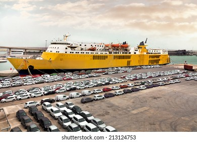 Cargo sea port. Sea cargo cranes. Cars. Seascape.