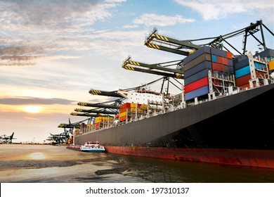 Cargo sea port. Sea cargo cranes. Seascape.