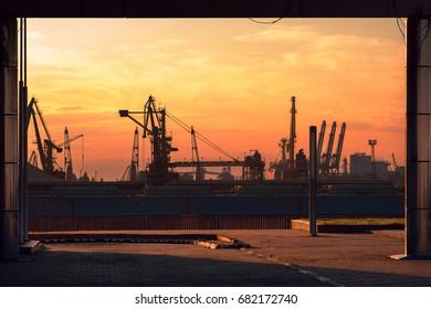 Cargo seaport in the evening. Odessa, Ukraine