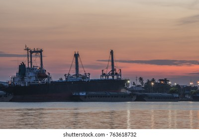 Cargo Ship and blurred sky is filled with natural colors