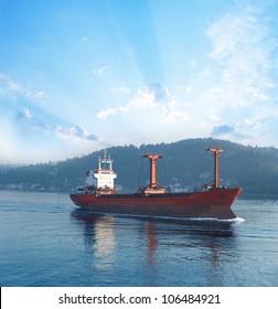 Cargo ship in Bosporus passage