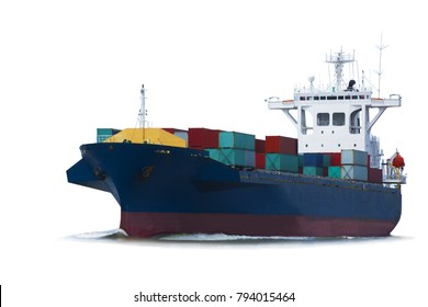 cargo ship, container vessel on white background isolate for freight shipping logistic and transportation concept.