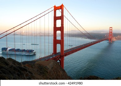 Cargo ship with containers passing under the Golden Gate - San Francisco