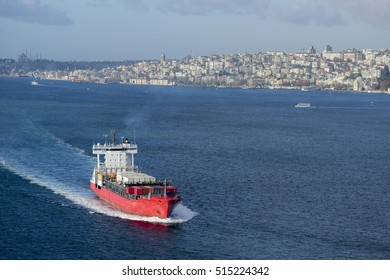 Cargo Ship Crossing the bosphorus canal