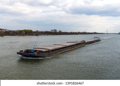Cargo ship in Danube river at Vienna, Austria.