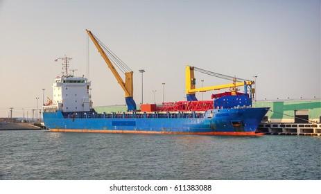 Cargo ship docked in Corpus Christi harbor, Texas
