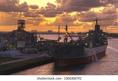 The cargo ship docked in San Juan, the capital of Puerto Rico.