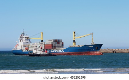 Cargo ship docking into East London Habour, South Africa, 2014