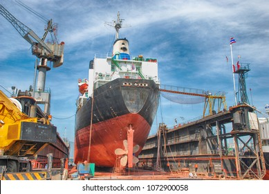 A Cargo Ship in Dry Dock