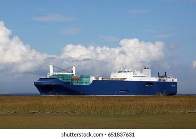 Cargo ship entering Savannah Georgia.