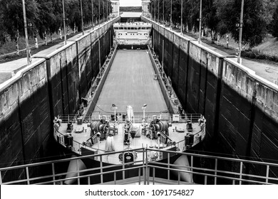 Cargo ship enters to the White Sea-Baltic Canal Gateway, Karelia, Russia