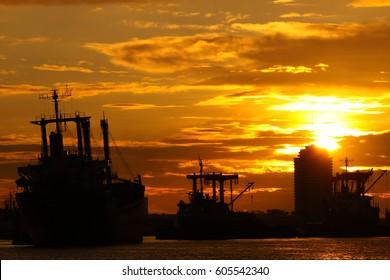 Cargo ship in the evening