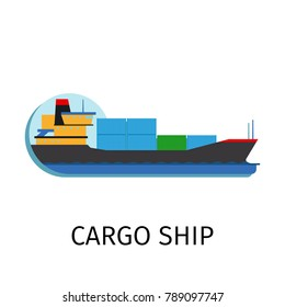 cargo ship in flat style with sign on white background