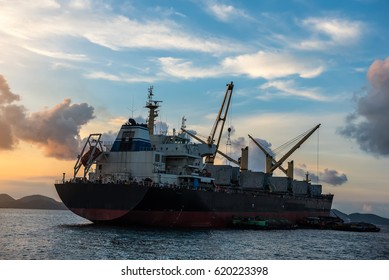 Cargo Ship in the Gulf of Thailand.