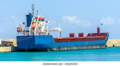 Cargo ship at Heraklion port, Crete island, Greece