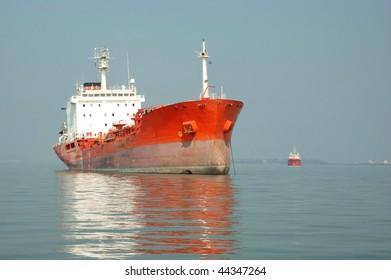Cargo ship in Indian ocean