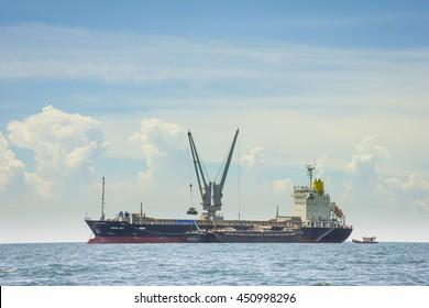 Cargo ship at Kho Si Chang , Chonburi, Thailand, on June 3, 2014 .selective focus