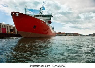 Cargo ship moored at the pier in Copenhagen