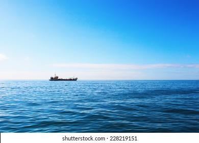 Cargo ship in ocean
